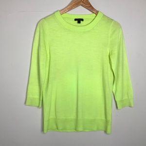 J. Crew Merino Wool Tippi Sweater Neon Yellow